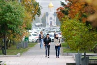 Autumn view of Novosibirsk, Siberia during indian summer