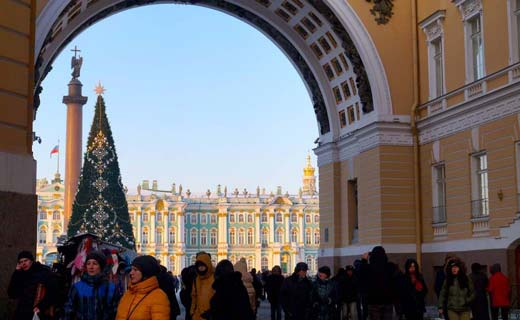 Palace square during a Exlinguo winter Russian course in St Petersburg, Russia